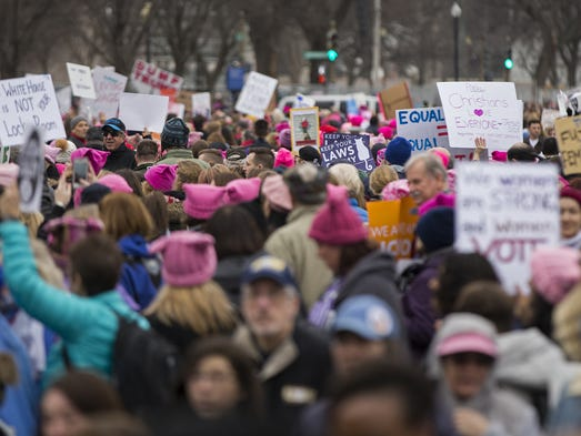 Demonstrators fill the streets surrounding the Washington