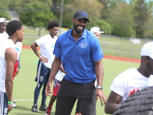 Former Detroit Lions receiver Calvin Johnson works