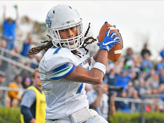 University of West Florida receiver Antoine Griffin hauls in a pass against No. 16 Wingate on Nov. 18, in Wingate, N.C.