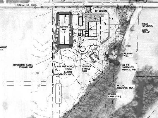 A draft site plan of Green Mountain Power's proposed manure digester in St. Albans shows its proximity to farm fields, at left, and wetlands, lower right.