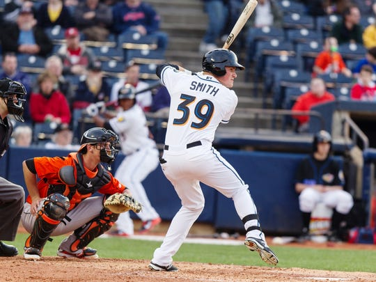 Former St. Cloud State All-American Jordan Smith is playing his third season with the Akron RubberDucks of the Class AA Eastern League. Smith played six games earlier this season in Class AAA with Columbus.