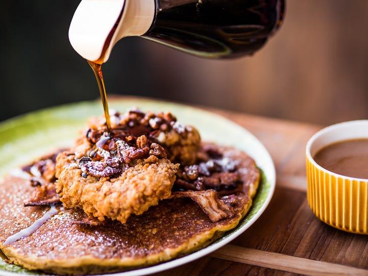 Shoo Mercy sweet potato pancakes at Tupelo Honey.