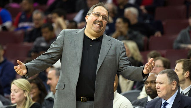 Detroit Pistons coach Stan Van Gundy reacts to a play against the Philadelphia 76ers.