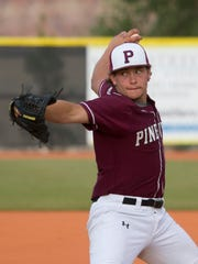 Pine View pitcher Brooks Barney throws to Cedar High