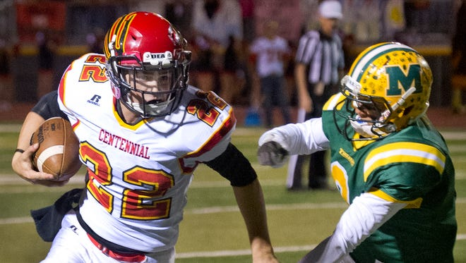 Centennial's wide receiver Lance Frost  and the Hawks take on Oñate on Thursday at the Field of Dreams.