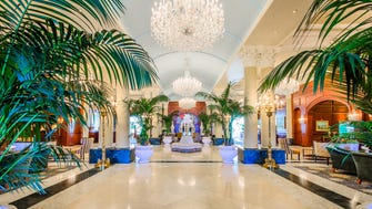 Guests now enjoy a grand new entryway featuring a plaza of 72,000 tulips, 8,000 liriope plants, 1,000 boxwoods and 900 rhododendron bushes circling a grand granite fountain.