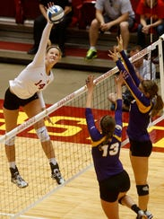 Jess Schaben of ISU spikes the ball in a game with
