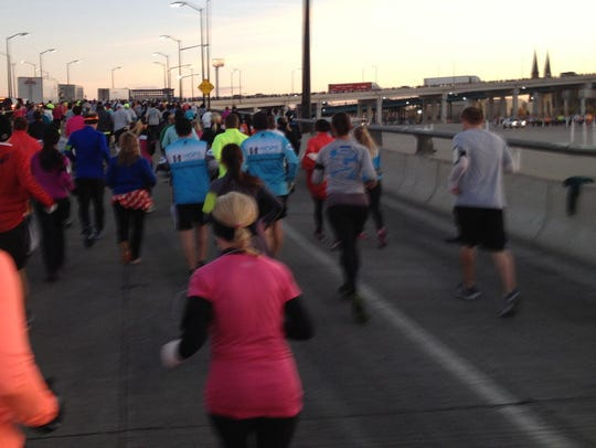 Heading up the Ambassador Bridge during the 2014 Free