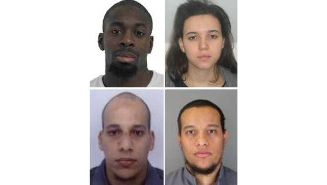 Clockwise from top left: Amedy Coulibaly, Hayat Boumeddiene, Said Kouachi, and his brother, Cherif Kouachi.