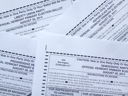 There are four ballots for this year's primary: Clockwise from top left, Liberty Union, Republican, Democratic and Progressive.