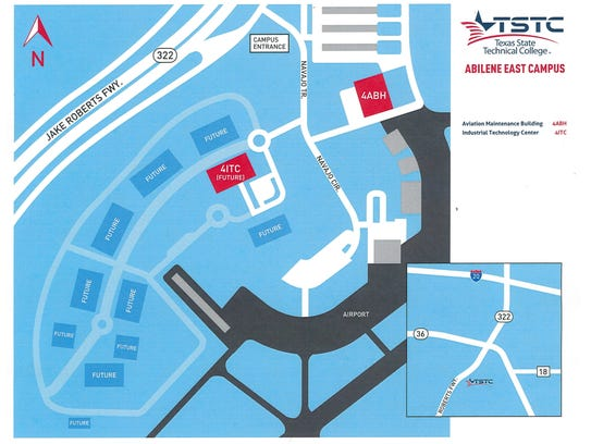 TSTC's new campus is on the west side of the airport.