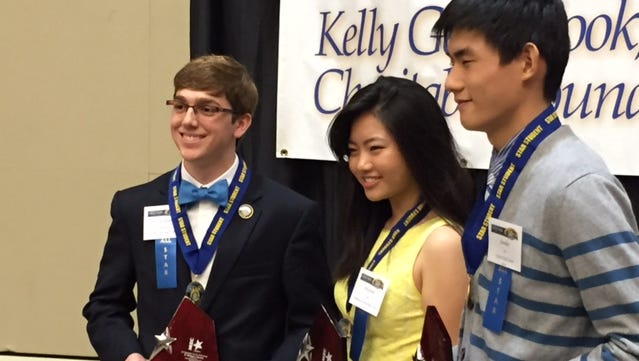 The top 3 ALL-STAR Scholars, from left to right, Nicholas Sciortino, Elizabeth Liu, and Joonhee Jo.