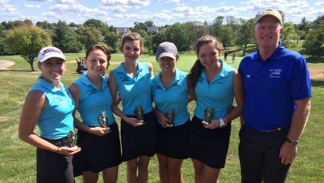 Villa Madonna girls golfers who took part in the All 'A' tournament include, from left: Kaila Troxell (Villa Hills), Paige Tepe (Florence), Natalie Boucher (Villa Hills), Camryn Bellish (Delhi Township) and Jenna Doumont (Burlington).