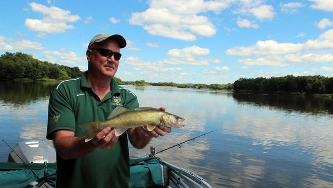 Mark Peck holds a 17.5 inch walleye before releasing the fish back into the Wisconsin River near Gotham.