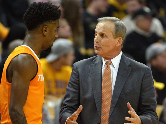 Tennessee guard Jordan Bone talks with head coach Rick Barnes in a timeout during their game against the Missouri in Columbia, Missouri, on Jan. 17, 2018. Tennessee comes to Ames on Saturday to play Iowa State in the Big 12/SEC Challenge.