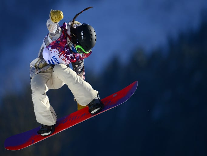 US Karly Shorr competes in the Women's Snowboard Slopestyle qualification at the Rosa Khutor Extreme Park during the Sochi Winter Olympics on February 6, 2014.   AFP PHOTO / JAVIER SORIANOJAVIER SORIANO/AFP/Getty Images