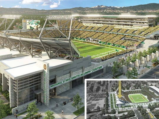 This rendering shows the location of the Michael & Iris Smith Alumni Center at Colorado State University's under-construction on-campus stadium.