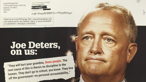 One side of a political attack mailer on Hamilton County