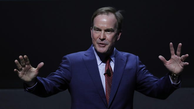 Michigan Republican gubernatorial candidate Bill Schuette speaks the Detroit Economic Club, Wednesday, Oct. 31, 2018, in Detroit.