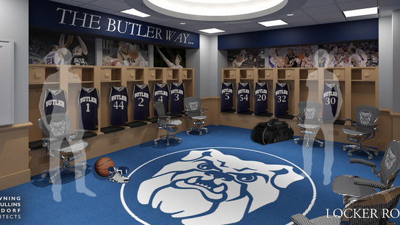 A rendering of what the new men's basketball locker room at Butler will look like this fall.