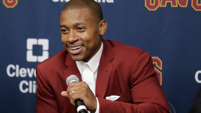 Cleveland Cavaliers' Isaiah Thomas smiles during a news conference at the teams practice facility, Thursday, Sept. 7, 2017, in Independence, Ohio.
