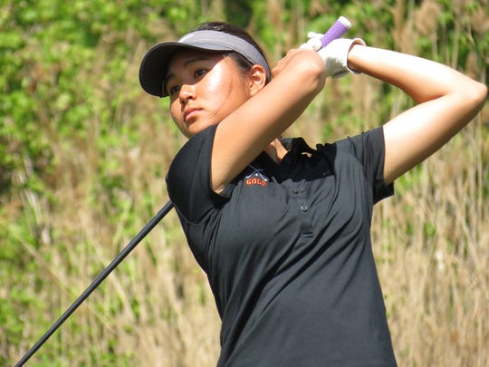 Defending champ Sun Hwang of Fort Lee was fourth at the Bergen County Girls Golf Championship at Overpeck Golf Course in Teaneck on Wednesday, May 9.