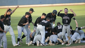 Hamilton celebrates a walk-off double to beat Chaparral 11-10 during the State Baseball Tournament at Maryvale Baseball Park on May 5, 2016 in Phoenix, Ariz.