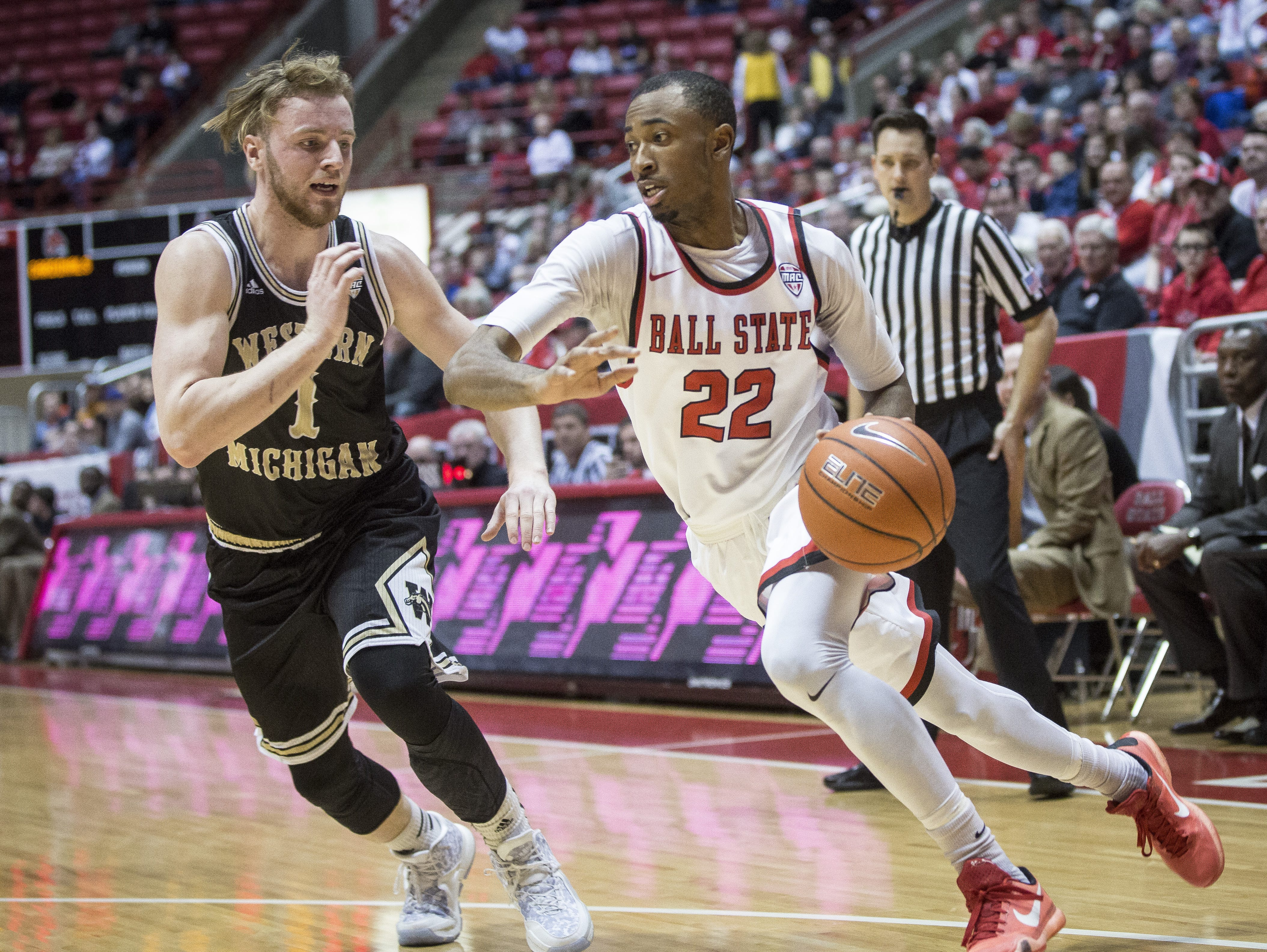 Ball State's Jeremie Tyler moves in to take the shot during a home game against Western Michigan on Saturday. Ball State defeated Western Michigan 75-71 in overtime.