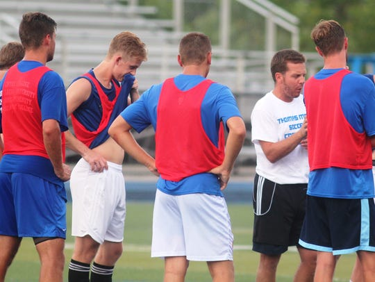 Thomas More men's soccer practices July 21.