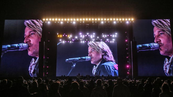 Apr 28, 2018; Indio, CA, USA; Keith Urban performs during the Stagecoach Country Music Festival at Empire Polo Club. Mandatory Credit: Richard Lui/The Desert Sun via USA TODAY NETWORK
