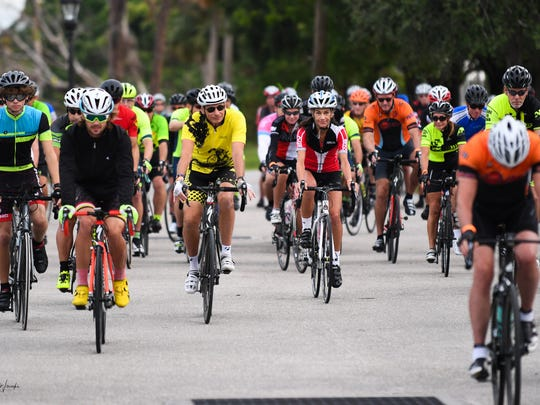 Hundreds of cyclists pulled together to help support families and communities that were devastated by Hurricane Irma during the Irma Relief Ride sponsored by Naples Velo at Riverside Park in Bonita Springs, Saturday October 28.   John M. Wissocki / Correspondent.