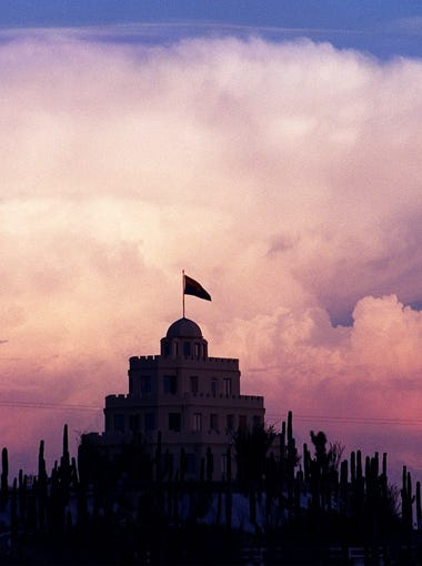 Tovrea Castle at sunset. The building can be seen from the Loop 202 freeway in Phoenix.