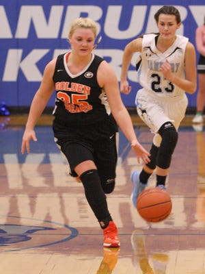 Gibsonburg's Allie Teeple leads a break Tuesday against Danbury. Teeple had 34 points and 32 rebounds.
