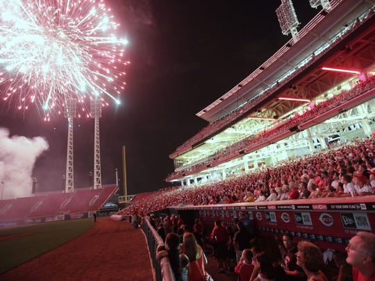 There are fireworks displays on Friday nights after Reds games.