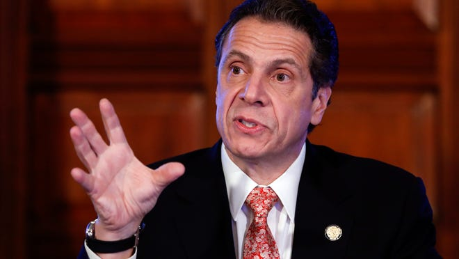 Gov. Andrew Cuomo talks during a cabinet meeting Wednesday at the Capitol in which it was announced that his administration will move to prohibit fracking in the state.