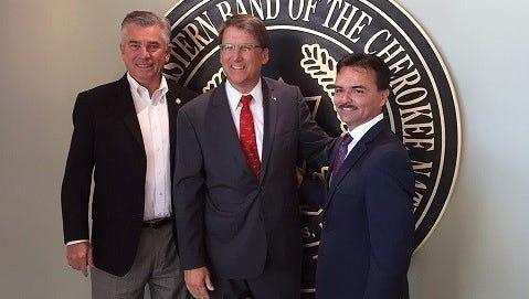 Sen. Jim Davis, R-Macon; Gov. Pat McCrory; and Patrick Lambert, principal chief of the Eastern Band of Cherokee Indians, in Cherokee Friday.