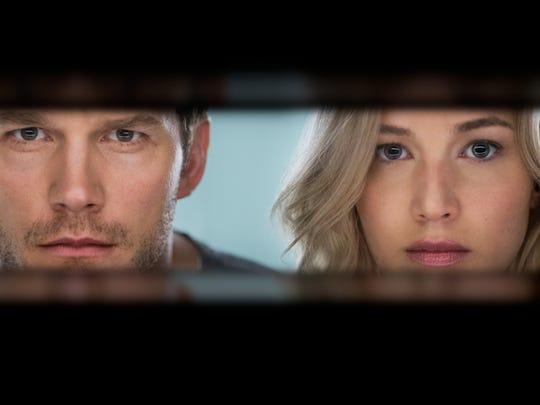 Chris Pratt and Jennifer Lawrence star in the sci-fi