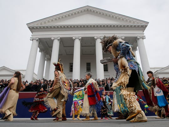 Dancers from Virginia Native American Tribes perform
