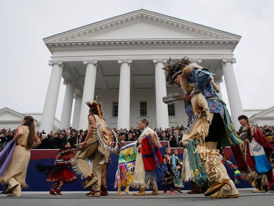Dancers from Virginia Native American Tribes perform during inaugural ceremonies for Gov. Ralph Northam at the Capitol in Richmond, Va., Saturday, Jan. 13, 2018. (AP Photo/Steve Helber)