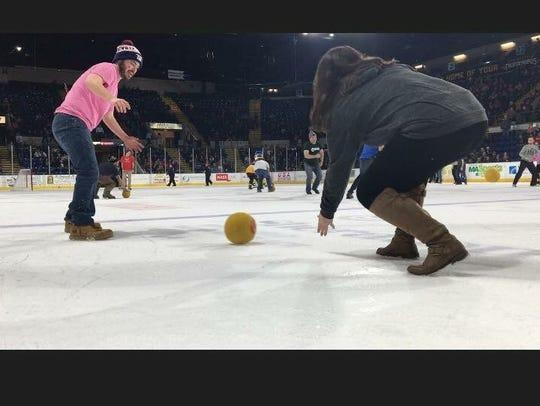 Dodge ball on ice, Springfield, MA