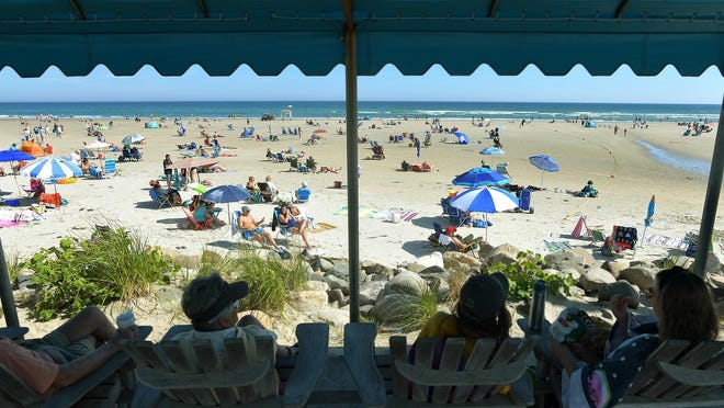 A view from the shady pavilion overlooking Ogunquit Beach.