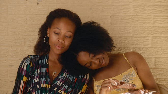 "Nicole Beharie, left, as Turquoise and Alexis Chikaeze as Kai in ""Miss Juneteenth."""