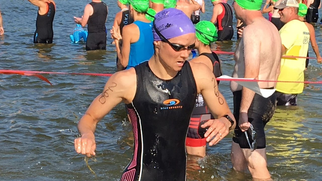 Highlights and interviews with winners Thierry Guertin of Windsor, Ontario and Hannah DePaul of Northville at the Pterodactyl Triathlon at Island Lake State Recreation Area.