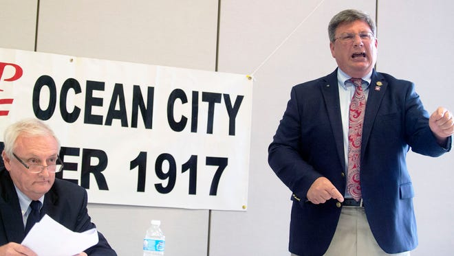 Senate candidate Mike McDermott states his case in a debate with Jim Mathias Wednesday, Oct. 8 at the Ocean City Senior Center.