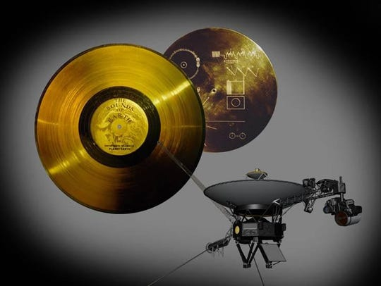An example of the golden record carried on the Voyager