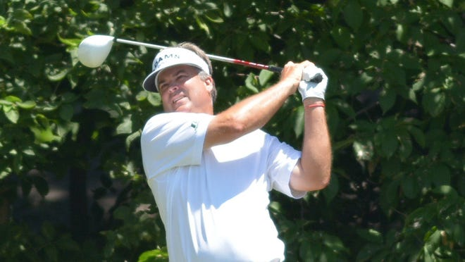 Kenny Perry, seen here in July, leads the Dick's Sporting Goods Open by one after the first round.