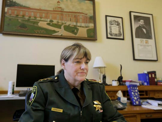 San Francisco Sheriff Vicki Hennessy is interviewed in her office after attending a meeting at City Hall in San Francisco by city leaders and community activists to reaffirm the city's commitment to being a sanctuary city in response to Donald Trump's support of deportations and other measures against immigrants Monday, Nov. 14, 2016.