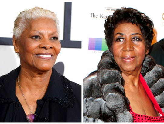 Singer Dionne Warwick, left, arrives at the 56th annual GRAMMY Awards on Jan. 26, 2014, in Los Angeles. Aretha Franklin attends the 39th Annual Kennedy Center Honors on Dec. 4, 2016, in Washington, D.C. Franklin is accusing Warwick of making up a story that she was Whitney Houston's godmother.