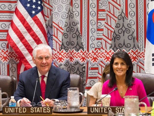 Secretary of State Rex Tillerson and U.S. Ambassador to the UN Nikki Haley hold a trilateral meeting with Japanese Foreign Minister Kishida and Korean Foreign Minister Yun at the United Nations, Friday, Friday, April 28, 2017.