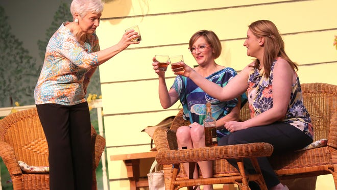 Nancy Green (left to right), Erin Shawk and Kristina Frye rehearse a scene from the Savannah Sipping Society at the Galion Community Theatre.